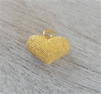 10mm puff heart gold on sterling stardust
