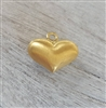 10mm puff heart gold on sterling sandbrushed