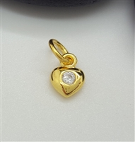5mm gold plated puffy zircon heart