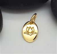gold plated st. silver oval lotus charm 6x9mm