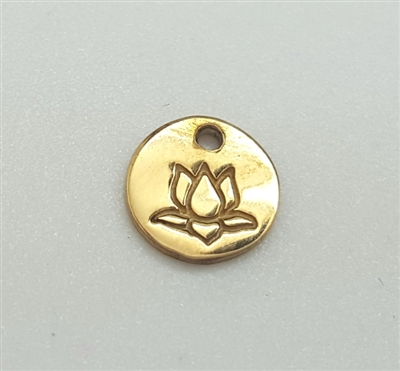 6mm  gold plated st. silver lotus disc charm
