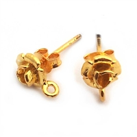 rose studs w/ loop gold vermeil
