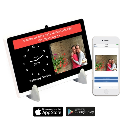 dayclock digital message tablet for seniors. Send messages from your Smartphone straight to the tablet. Great for Alzheimer's, dementia and for those living alone or with a caregiver.