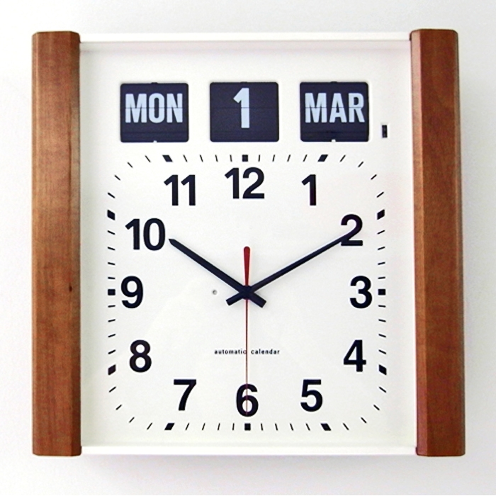 Large Day Date Flip Clock With Wood Trim For Dementia