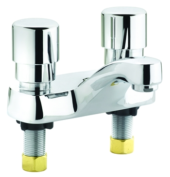 "Krowne 16-480L Commercial Heavy Duty Push Button Automatic Shut-Off Lavatory Sink Faucet Deck Mount with 4"" Centers"