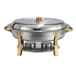 Winco Gold Accented Chafers Oval Chafer, 6 Qt., (202)