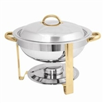 Winco Gold Accented Chafers Round Chafer, 4 Qt., (203)