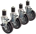 "Krowne Heavy Duty 5"" Stem Caster - Set of 4, (28-129S)"