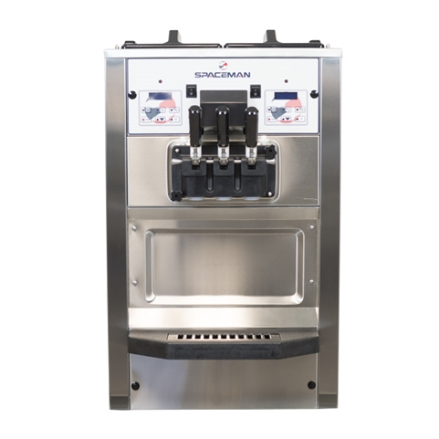 58 Qts. per hr - Soft Serve Ice Cream Machine - Two Flavor with Twist Swirl Countertop - Air Pump Feed with Hopper Agitators 208-230 Vac, 17 Amps (Spaceman 6235AH)