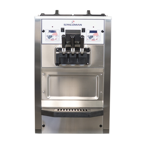 48 Qts. per hr - Soft Serve Ice Cream Machine - Two Flavor with Twist - Countertop with Hopper Agitator 208-230 Vac, 17 Amps (Spaceman 6235H)