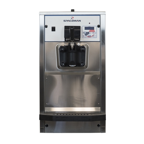 48 Qts. per hr - Soft Serve Ice Cream Machine Single Flavor Countertop - Air Pump Feed with Hopper Agitator 208-230 Vac, 13 Amps (Spaceman 6236AH)