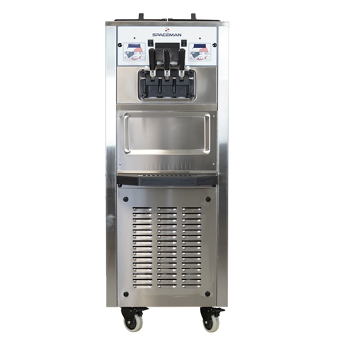 60 Qts. per hr - Soft Serve Ice Cream Machine - Two Flavor with Twist Swirl Floor Standing - Air Pump Feed with Hopper Agitators 208-230 Vac, 15 Amps (Spaceman 6250AH)