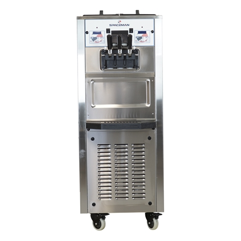 50 Qts. per hr - Soft Serve Ice Cream Machine - Two Flavor with Twist Swirl - Floor Standing with Hopper Agitators 208-230 Vac, 15 Amps (Spaceman 6250H)