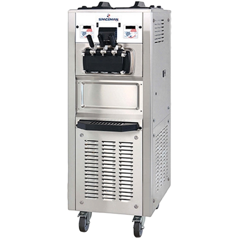 94 Qts. per hr - Soft Serve Ice Cream Machine - Two Flavor with Twist Swirl Floor Standing - Air Pump Feed with Hopper Agitators - 1-Phase 208-230 VAC (Spaceman 6378AHD)
