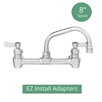 "Fisher model 64742 backsplash mount brass 1/2"" commercial kitchen faucet with 8"" swing spout and EZ Install Adapters"