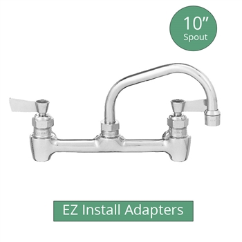 "Fisher model 64750 backsplash mount brass 1/2"" commercial kitchen faucet with 10"" swing spout and EZ Install Adapters"