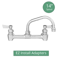 "Fisher model 64777 backsplash mount brass 1/2"" commercial kitchen faucet with 14"" swing spout and EZ Install Adapters"