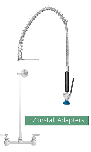 Fisher model 64793 brass commercial kitchen Pre-Rinse faucet with backsplash style mounting on 8 inch centers and 1/2 inch water inlets. Includes Fisher's exclusive EZ Install Adapters for faucet replacement.