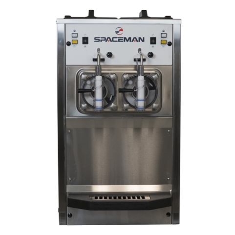 80 Qts. per hr - Frozen Beverage Machine Dual Hoppers Countertop Model with Hopper Agitators 208-230 VAC, 16 Amps (Spaceman 6695H)