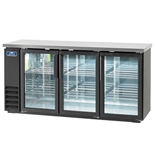 "73"" Wide Back Bar Refrigerator with 3 Glass Doors and Stainless Steel Top (Arctic Air ABB72G)"