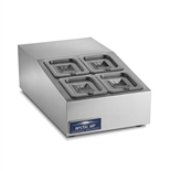 Countertop Refrigerated Prep Rail Station - 15 Inches Wide - 4 Food Pans (Arctic Air ACP4SQ)