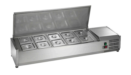 Countertop Refrigerated Prep Rail Station - 55 Inches Wide - 10 Food Pans (Arctic Air ACP55)