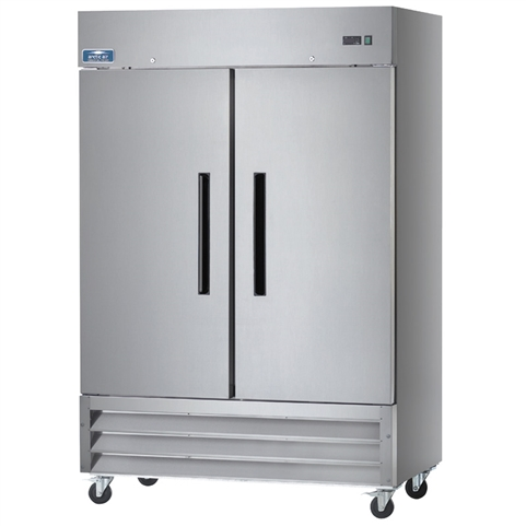 2-Door Upright Reach-in Freezer 49 Cu. Ft. Capacity with Stainless Steel Exterior and Bottom-Mount Compressor (Arctic Air AF49)