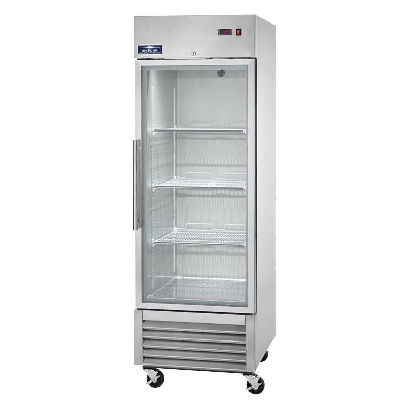 Single Glass Door Upright Reach In Refrigerator 23 Cu.Ft. Capacity With  Stainless Steel Exterior And ...