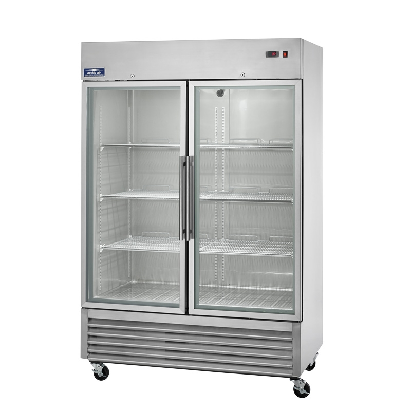 Two Door Glass Upright Reach In Refrigerator 49 Cuft Capacity With
