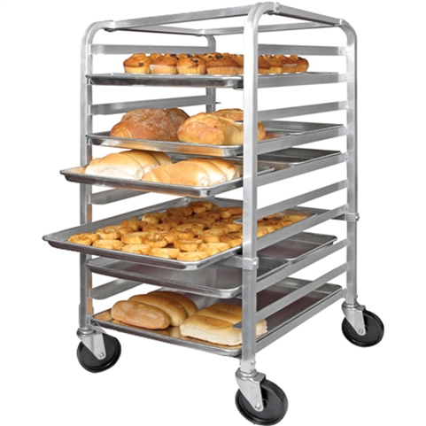 10 Pan Capacity End Loading Sheet Pan Rack - Aluminum with Casters (Winco ALRK-10)