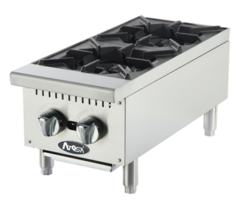 "Atosa 2-Burner Commercial Countertop Hot Plate - 12"" Wide (ATHP-12-2)"