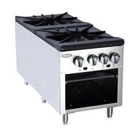Atosa 2-Burner Stock Pot Range Natural Gas - 160,000 BTUs (ATSP-18-2)