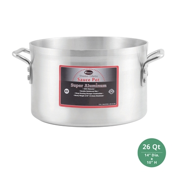 "Winco AXAP-26 Winware Super Aluminum Sauce Pot - 26 Qt., 4mm ( 3/16"") Thick"