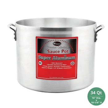 "Winco AXHA-34 Winware Heavy Duty Super Aluminum Sauce Pot - 34 Qt., 6mm ( 1/4"") Thick"