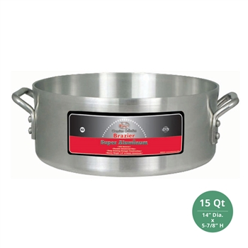 "Winco AXHB-15 Winware Heavy Duty Super Aluminum Brazier Pan - 15 Qt., 6mm ( 1/4"") Thick"