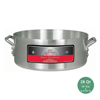 "Winco AXHB-28 Winware Heavy Duty Super Aluminum Brazier Pan - 28 Qt., 6mm ( 1/4"") Thick"