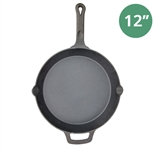 "12"" Cast Iron Skillet Pre-Seasoned - Fire Iron by Winco (Winco CAST-12)"