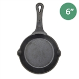 "6"" Cast Iron Skillet Pre-Seasoned - Fire Iron by Winco (Winco CAST-6)"