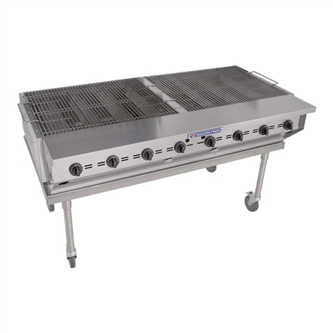 "Outdoor Charboiler 60"" Wide 8-Burner 160,000 BTUs - Liquid Propane Gas (Bakers Pride CBBQ-60S)"