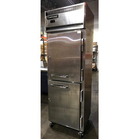 Continental model DL1RS-SS 1-Section Split Door Reach-in Refrigerator Spec Line Designer Series - New Item  - Test Kitchen Demo