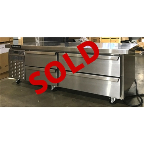 Continental model DL72G 72 Inch Wide Refrigerated Chef Base Equipment Stand - New Item - Test Kitchen Demo