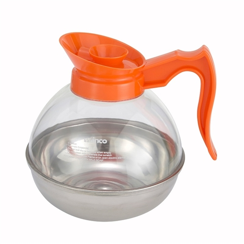 Clearance Item - Winco 64oz Polycarbonate Coffee Decanter with Orange Pour Spout and stainless steel base