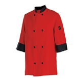 Clearance Item - Chef Revival XXL Chef Coat, - Tomato Red with Black Trim  (J134TM-2X)