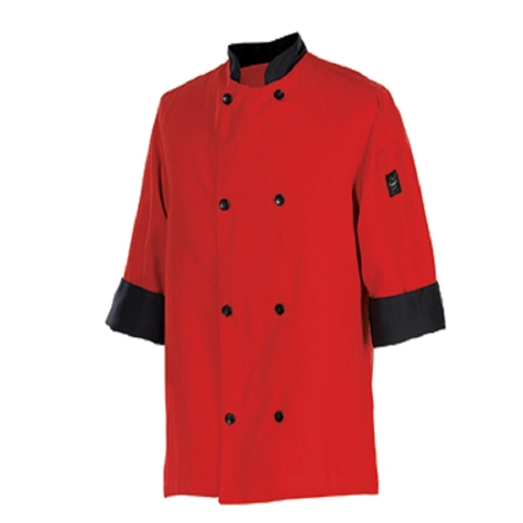 Clearance Item - Chef Revival XL Chef Coat, - Tomato Red with Black Trim  (J134TM-XL)