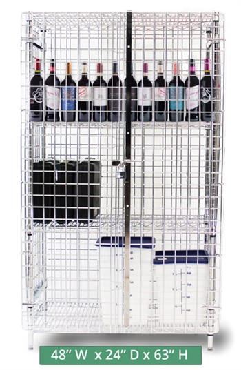 "Heavy-Duty Chrome Plated Wire Security Cage - Size 48"" wide x 24"" deep x 63"" high (CMSC244863)"