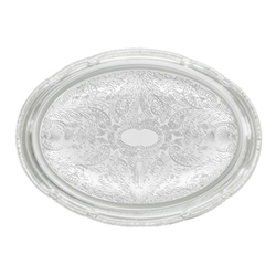 "Winco Chrome Tray - 0.5 mm - Oval - 14"" X 10"", (CMT-1014)"