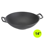"TableCraft 7-oz Cast Iron Wok 14"" Diameter with (2) Handles, (CW30116)"