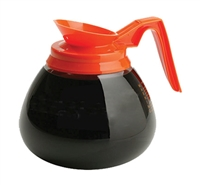Glass 64 Oz. Glass Coffee Decanter with Orange Pour Spout and Orange Handle made by Bloomfield - (3) Pack