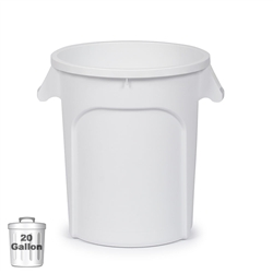 20-Gallon Plastic Trash Container, White (DIN 200101)
