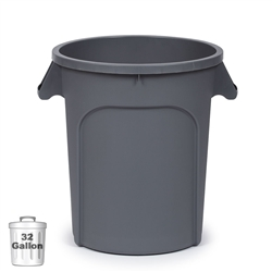 32-Gallon Plastic Trash Container, Gray (DIN 320103)